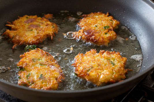 frying latkes