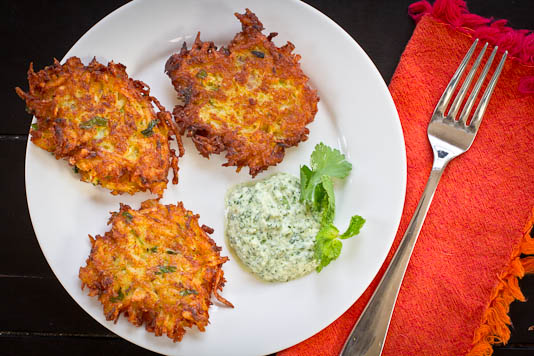 spiced latkes with cilantro mint chutney