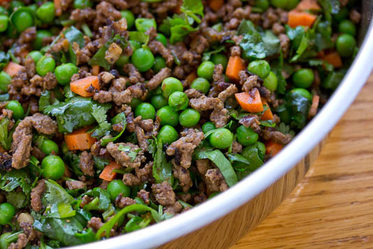 Ground Meat with Peas & Carrots
