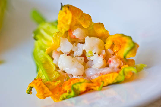 Shrimp Filled Squash Blossoms