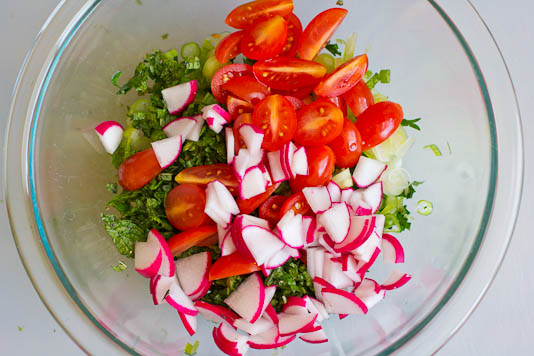 Chopped Ingredients For Tabbouleh