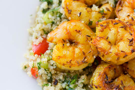 Grilled Cumin Shrimp With Quinoa Tabbouleh