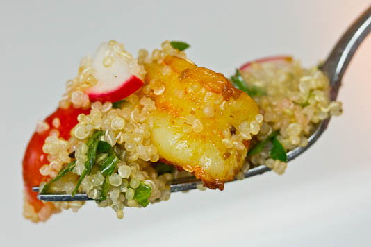 Perfect Morsel of Quinoa Tabbouleh and Cumin Shrimp