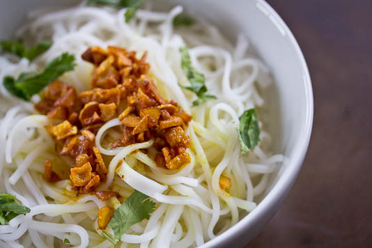 Rice Noodles Garnished with Garlic Turmeric Oil