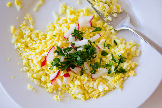 Eggs with Radishes & Parsley