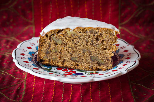 Piece of Tamarind Date Cake with Cardamom Icing