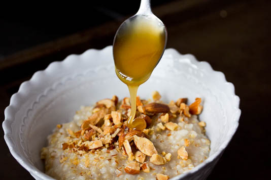 Drizzling Honey on Oatmeal