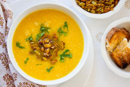 Cauliflower Soup with Spiced Pumpkin Seeds