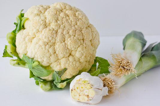 Cauliflower, Garlic, Leeks