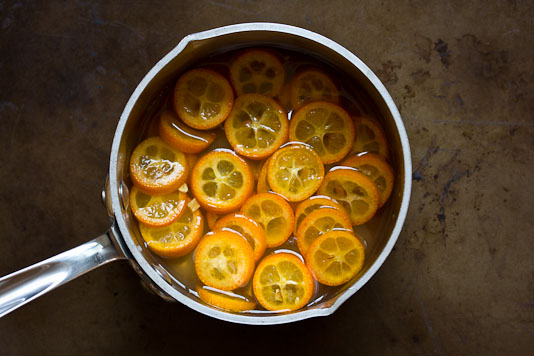 Kumquat Slices in Hot Simple Syrup