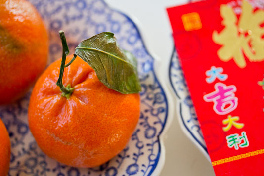 Chinese New Year Oranges and Red Envelopes