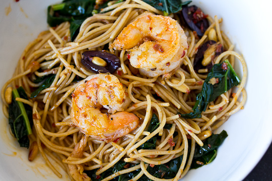 Harissa Spaghettini with Kale & Shrimp | Perfect Morsel