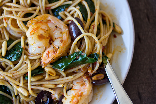 Harissa Spaghettini with Kale & Shrimp