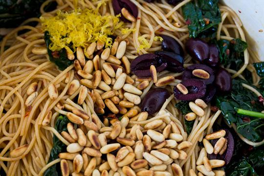 Harissa Spaghettini with Kale & Shrimp | Perfect Morsel
