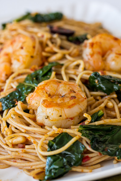 Shrimp with Harissa Spaghettini
