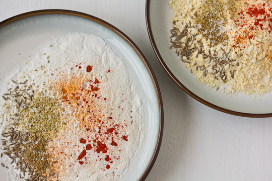 Rice Flour, Cornmeal, Spices