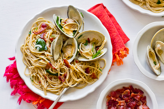 Spaghettini with Clams, Bacon & Ramps