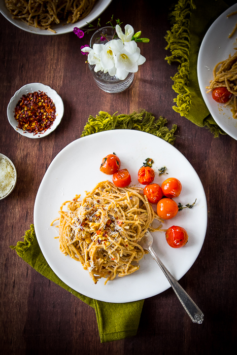 Walnut Pesto Pasta Roasted Cherry Tomatoes