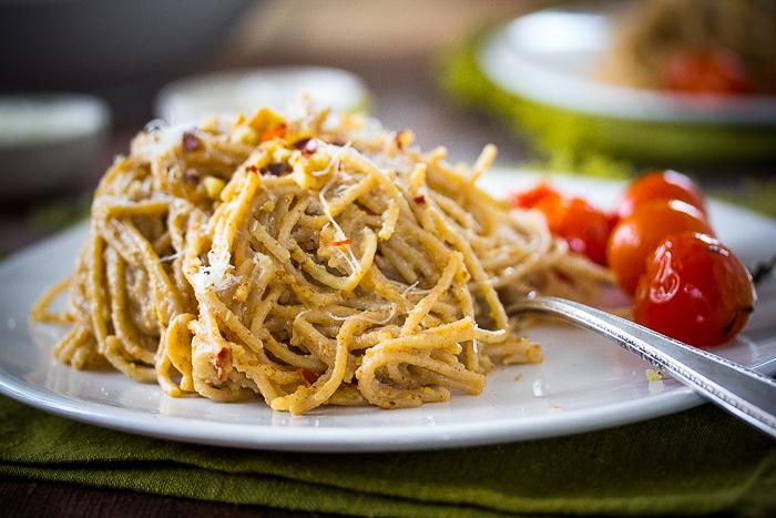 Spaghettini with Walnut Pesto